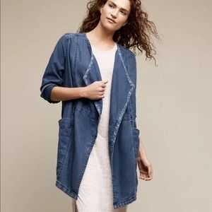HEI HEI Blue Linen Oversized Kimono Jacket Sz XL